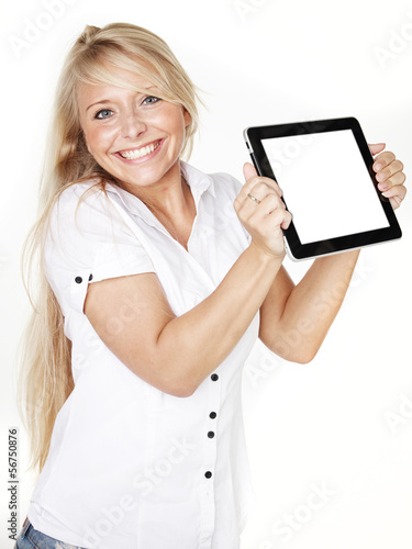 Woman is happy to have a tablet pc