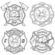 Set of fire department emblems and badges - 56751486