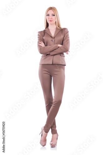 Model wearing fashionable clothing on white