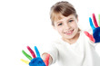 Little kid with painted hands
