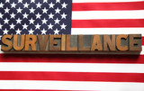 the word 'surveillance' on an American flag