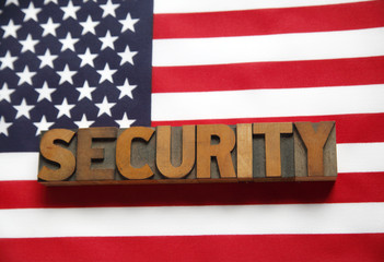 American flag with security word