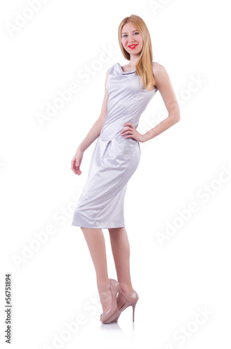 Model wearing fashionable clothing on white
