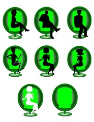 retro round chair with silhouettes of people