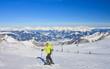 Alpine skier mountains in the background. Ski resort of Kaprun,