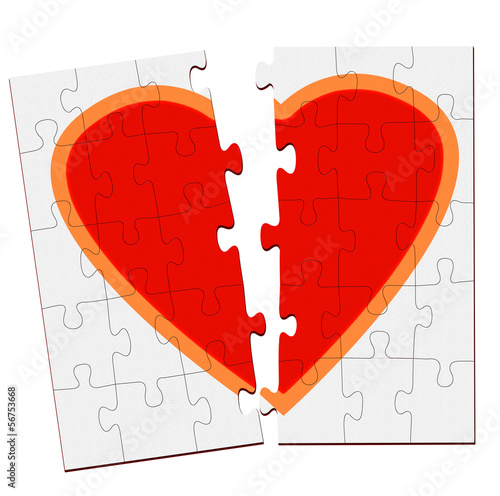 Broken heart jigsaw over white