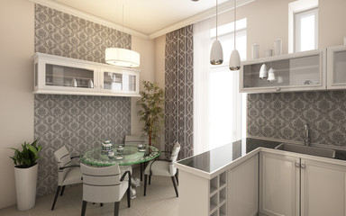 Modern Kitchen In Grey and White Colours