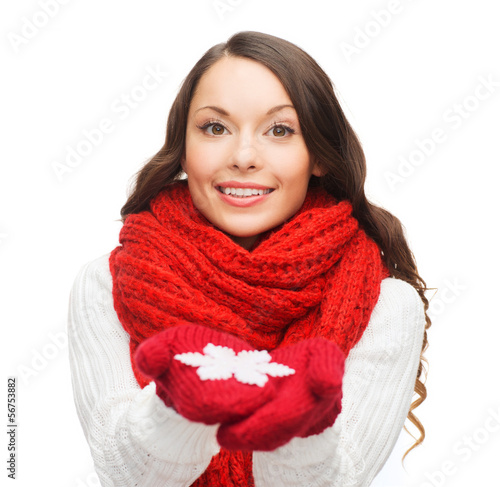 woman with big snowflake