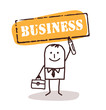 businessman with business sign
