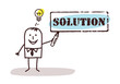 businessman with solution sign