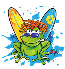 summer jamaican cartoon frog with surfboard