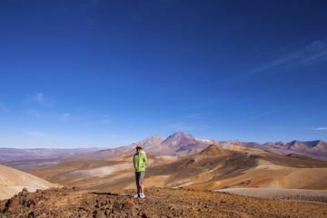 Femme debout observant les montagnes dans le désert d'Atacama