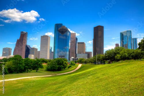 Fotobehang Texas Houston Texas Skyline modern skyscapers and blue sky