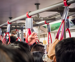 Crowded people in public transportation