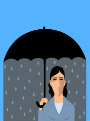 Depressed woman with an umbrella