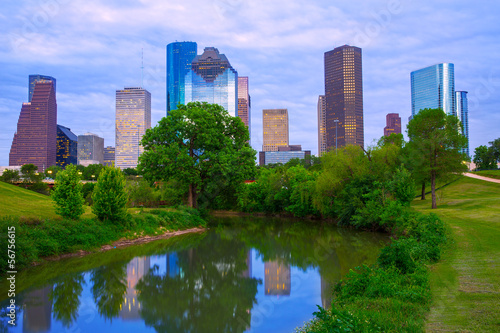 Foto op Canvas Texas Houston Texas modern skyline from park river