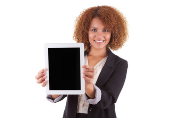 African American business woman holding a tactile tablet - Black