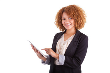 African American business woman using a tactile tablet - Black p
