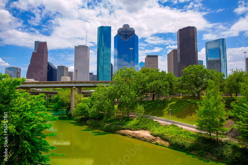 Poster Texas Houston Texas Skyline with modern skyscapers