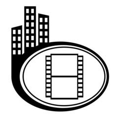 Film black city icon. Film camera
