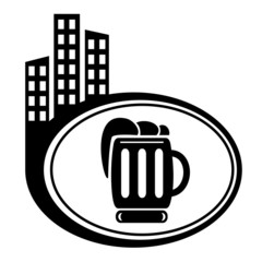 Beer black city icon