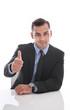 Erfolgreicher Geschäftsmann oder Manager mit Daumen hoch
