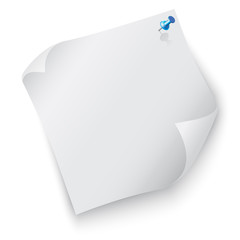 Piece of blank paper with a pin on white background