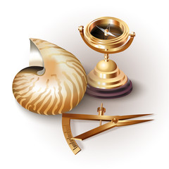 Set of navigation tools and a shell on white background