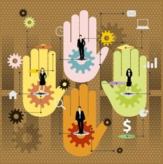 Cooperation vector design with colorful hands.