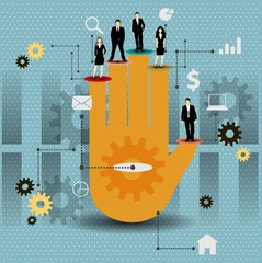 Cooperation vector design with colorful hand.