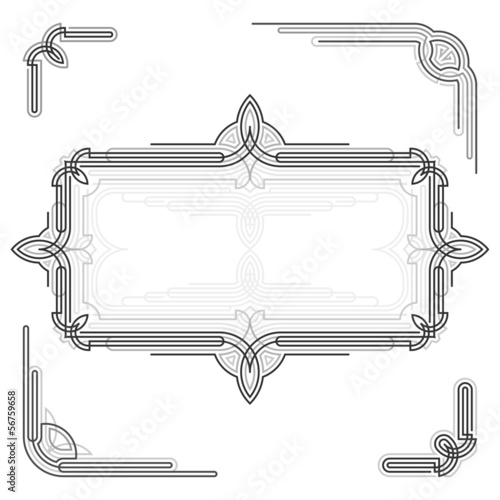 Decorative frame and ornaments