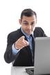 Unternehmer oder Geschäftsmann in Anzug & Krawatte - Zeigefinger