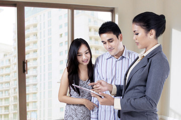 Selling property by using a tablet