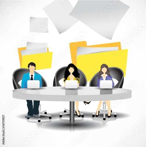 Template of business people team sitting at the table. Vector