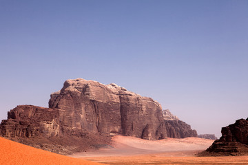 The typical landscape of Jordan Wadi Rum desert
