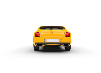Yellow Luxury Car Back View