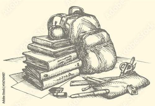 Vector still life school accessories. Book, backpack and pencil
