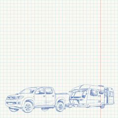 Caravan and Car sketch