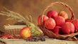 Basket of apples - harvesting - a basket with red ripe apples
