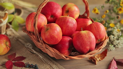Ripe red apples - HD stock footage clip of ripe apples