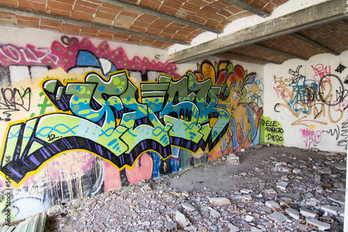 Foto op Plexiglas Wand House destroyed with burned car and very colorful graffiti