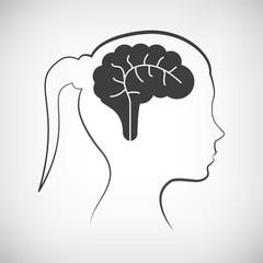 Frauenkopf mit Gehirn