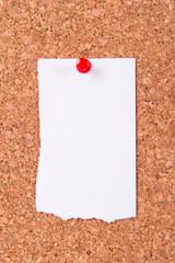 Torn Paper on Cork Board