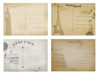 Set of vintage postcard designs