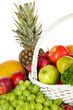 Different fruits and vegetables on white background