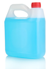 Blue liquid for car in canister isolated on white