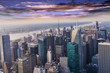 Aerial view of the skyline of manhattan