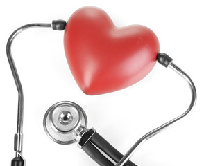Stethoscope and heart isolated on white