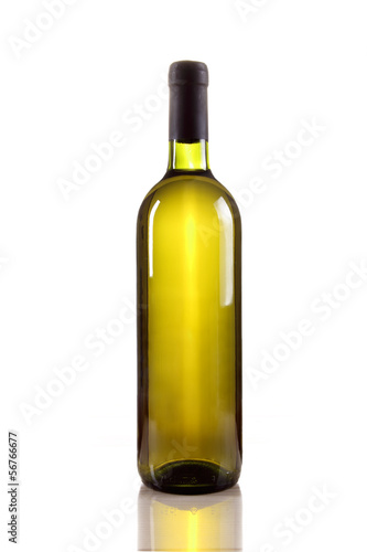 White wine bottle isolated on white background