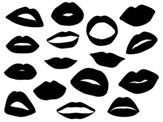 Set of lips illustrated on white
